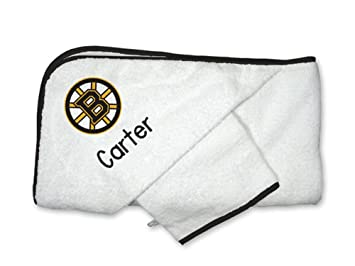 premium selection bc2c4 adcd5 Amazon.com : Personalized Boston Bruins Hooded Towel Set : Baby