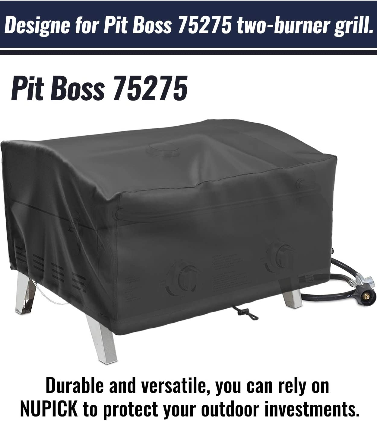 NUPICK Table Top Grill Cover for Pit Boss 75275 Stainless Steel Two-Burner Portable Grill Come with Grill Brush 24 Inch Small Grill Cover for Most 2 Burner Portable Grill