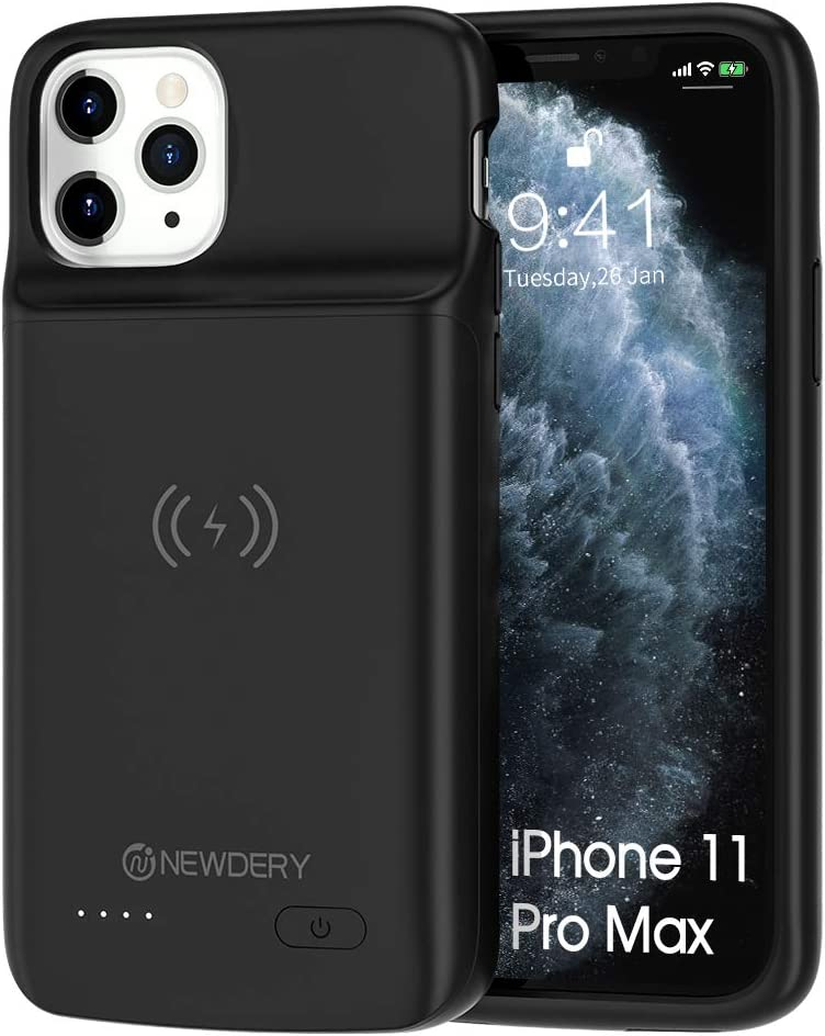 Newdery Battery Case for iPhone 11 Pro Max, Support Qi Wireless Charging, 5000mAh Extra Charging Accessories with Full Body Defender Edge, Ultra-Thin Compatible 6.5