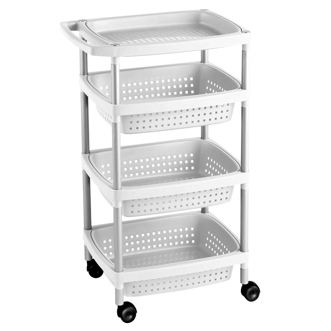 Tatay 7738201 - Vegetable Trolley with 4 Levels, Plastic, White, 33 x 43 x 10.3 cm