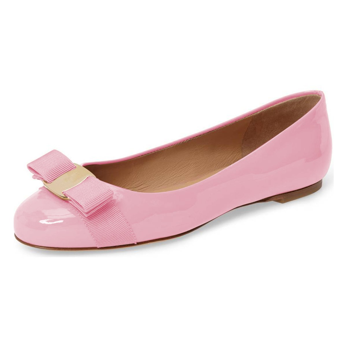 XYD Women Cute Bows Round Toe Ballet Flats Slip On Patent Basic Office Daily Shoes B07CNPZ5Q9 6 B(M) US|Pink