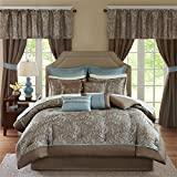 Comforter Sets with Matching Curtains Madison Park MPE10-223 Essentials Brystol Room in a Bag Queen Blue