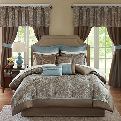 Comforter Sets Matching Curtains - Madison Park Essentials Brystol Queen Size Bed Comforter Set Room in A Bag - Blue, Taupe, Jacquard Embroidered Paisley – 24 Pieces Bedding Sets – Faux Silk Bedroom Comforters