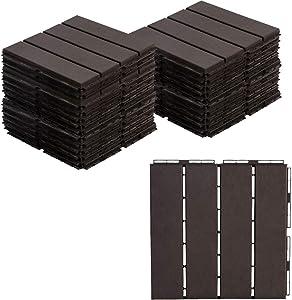 """AsterOutdoor Interlocking Deck Tile Plastic Waterproof Outdoor Flooring 12"""" x 12"""" for Patio Garden Deck Poolside Indoor Outdoor, 27 pcs, Brown (AOPB27P-B)"""