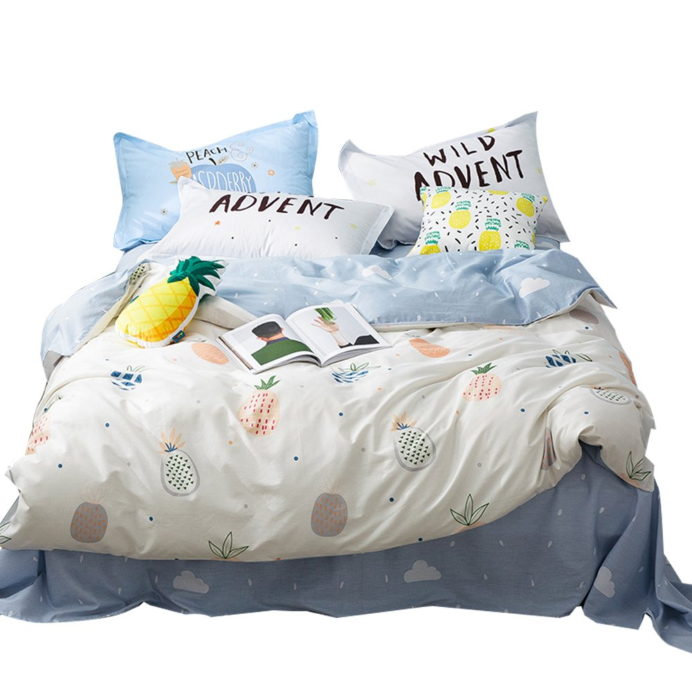 Kids Cotton Soft Pineapple Pattern Bedding Duvet Cover Sets Twin with Zipper Closure 2 Pillowcases for Girls Boys Teens Adults Blue White Hypoallergenic Reversible Bedding Gift Set Twin Pineapple C