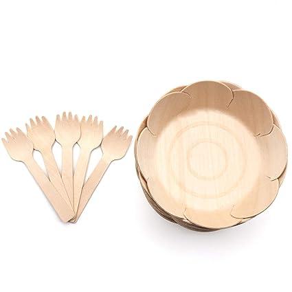 30 Piezas VIMOV Madera Desechables Cubiertos Plato 15 Piezas Biodegradable Vajillas con 15 Tenedores Fiesta Ensalada