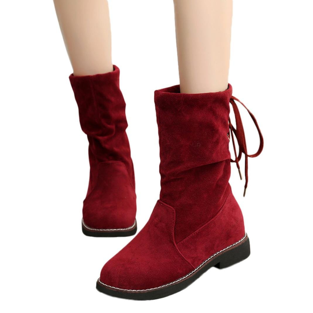 4feec5dc86164 Hemlock Lace-up Calf Boots Women, Ladies Dress Boots Winter Warm Boots  Shoes Flat Bottom Snow Boots High Boots