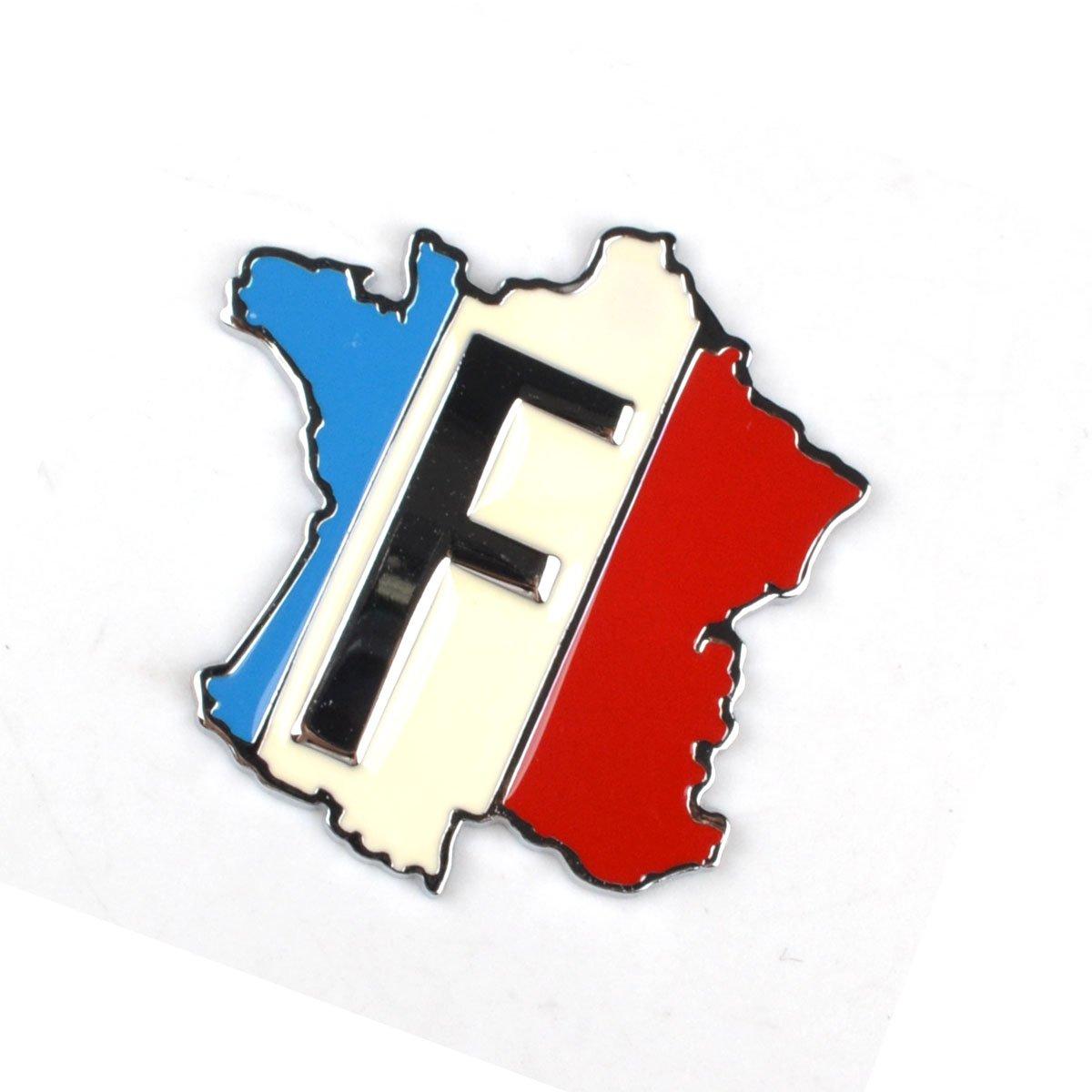 RunQiao 3D Autocollant France F Drapeau et Carte Mé tal Aluminium Badge Emblè me Sticker Pour Auto Voiture