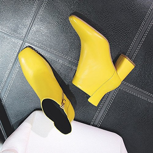 Single Yellow Boots High Rough Boots Boots Boots Female yellow Autumn Heel New KHSKX Bare Heel Yellowish Martin TqpCXX