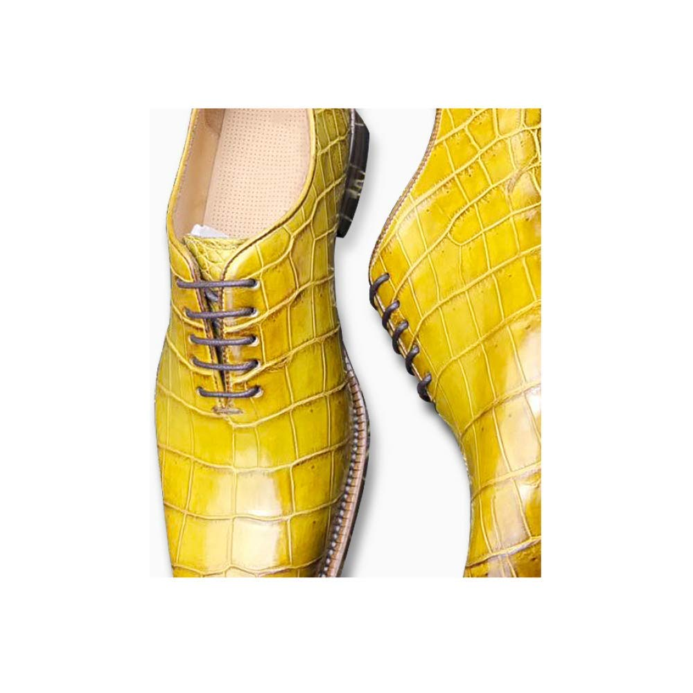 ZPEDY Herrenschuhe Hochzeit Schuhe Lace Business Formelle Abnutzung Spitze Lace Schuhe Fashion Trend Persönlichkeit Yellow fd4e27