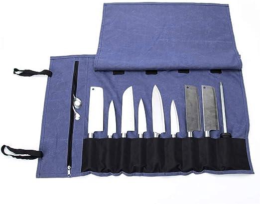 QEES - Bolsa para cuchillos de chef con 15 compartimentos, estuche de lona encerada, soporte para cuchillos duradero, bolsa multiusos para cuchillos (azul): Amazon.es: Hogar