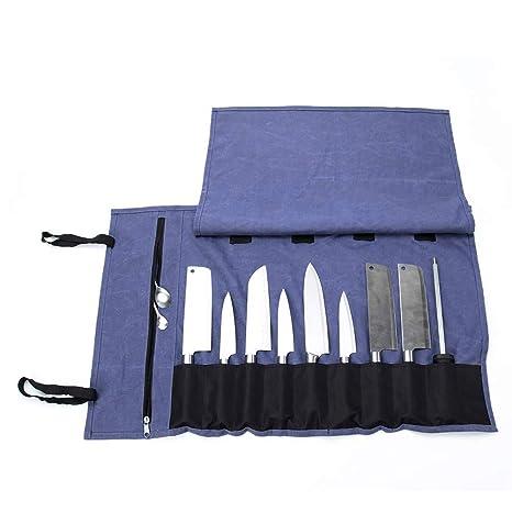 QEES - Bolsa para cuchillos de chef con 15 compartimentos ...