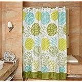 "YJBear Fresh Cartoon Leaf Polyester Mildew Resistant Shower Curtain Anti-bacterial Bath Decor Waterproof Home Decoration Bathroon White Curtain 71"" X 71"""