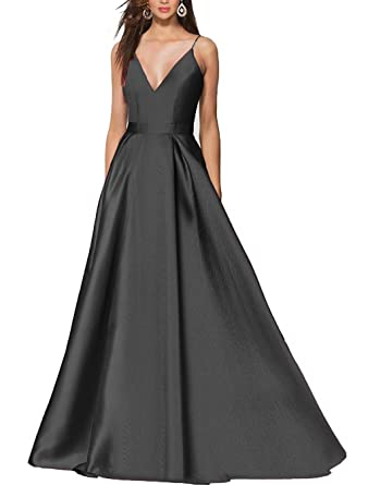 Dressbe Womens Long Satin Prom Dress Spaghetti Evening Gowns Size UK6 Black