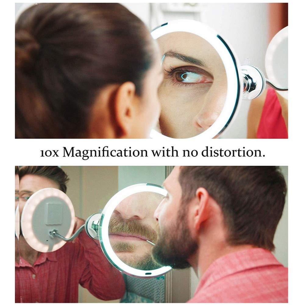 Ylmhe Ba/ño Ventosa Espejo Maquillarse 10x Aumentador LED Rotaci/ón 360 /° Montado En La Pared con 11 Pulgadas Cuello De Cisne
