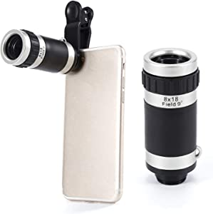 Cell Phone Camera Lens 8X Zoom Telephoto Lens HD Monocular Telescope Lens for iPhone XR,XS MAX,XS,X,8,7,6,6Plus Android Smartphone