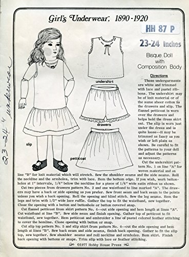 Hobby House Press Pattern HH87P Underwear for 23-24 Inch Bisque Doll with Composition Body