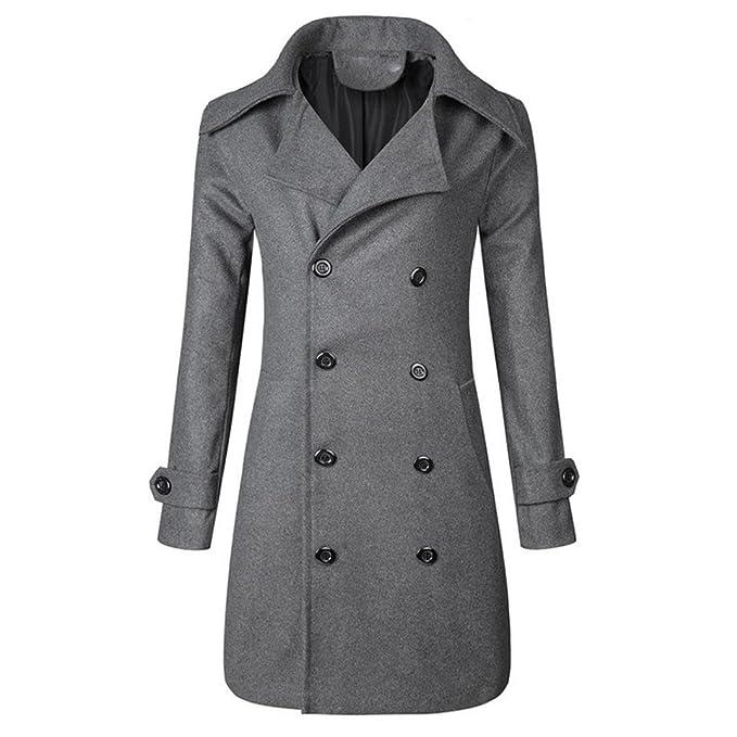 ... Männer Warm Jacke Mantel Outwear Schlank Lange Graben Knöpfe Khaki Herren  Mantel Schwarz Mantel In 4Farben Lange Ärmel Mantel  Amazon.de  Bekleidung 1c96828675