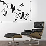 Decals Design 'Awesome Birds' Wall Sticker (PVC Vinyl, 45 cm x 60 cm, Black)