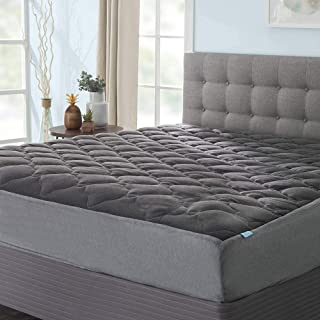 product image for eLuxurySupply Extra Plush Midnight Grey Mattress Pad with Fitted Skirt - Pillow Top Mattress Cover Made in The USA - Cool Hypoallergenic Mattress Protector - Twin XL Size