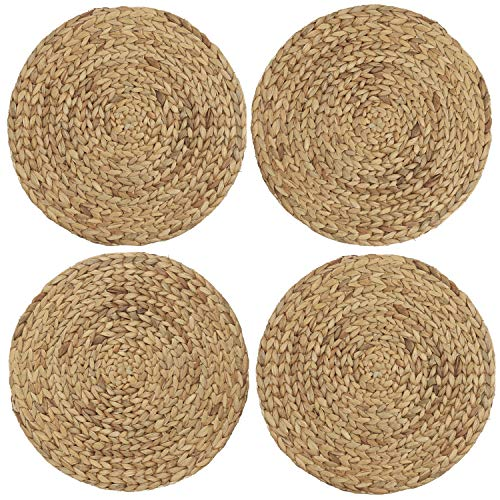 U'Artlines 13.8 Inches Placemats Natural Water Hyacinth Woven Round Braided Rattan Handmade Table Mats Non Skid Heat Resistant Mats Set (4pcs Round 11.8'', Beige) (Water Coffee Hyacinth Table)
