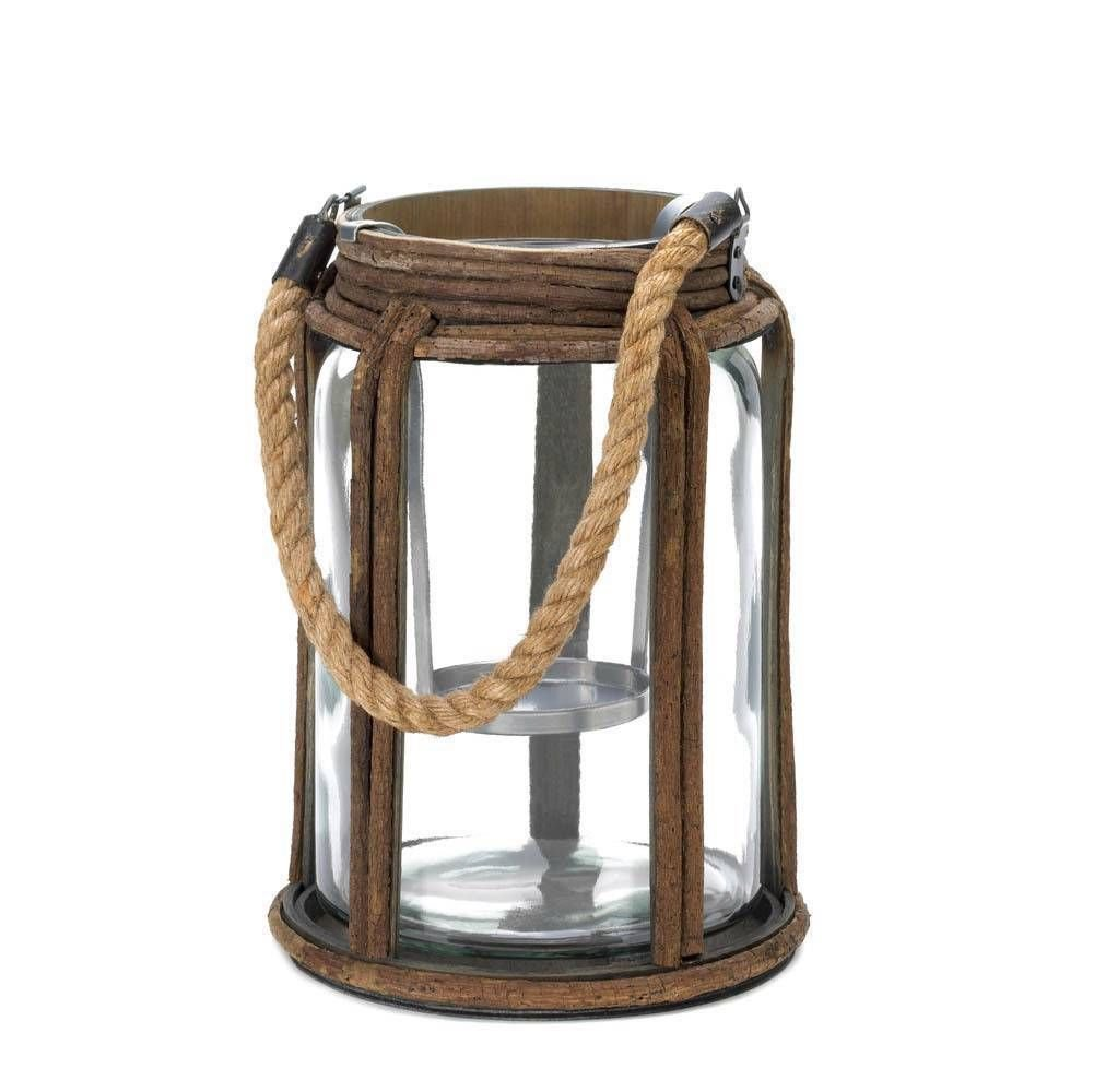Large Old World Rustic Glass Jar Candle Lantern Camping Cabin Decor ...