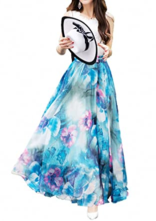27f99d56e Afibi Women Full/Ankle Length Blending Maxi Chiffon Long Skirt Beach Skirt  (Small,