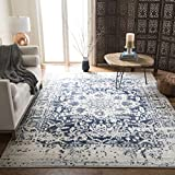Safavieh Madison Collection MAD603D Cream and Navy Distressed Medallion Area Rug (5'1' x 7'6')