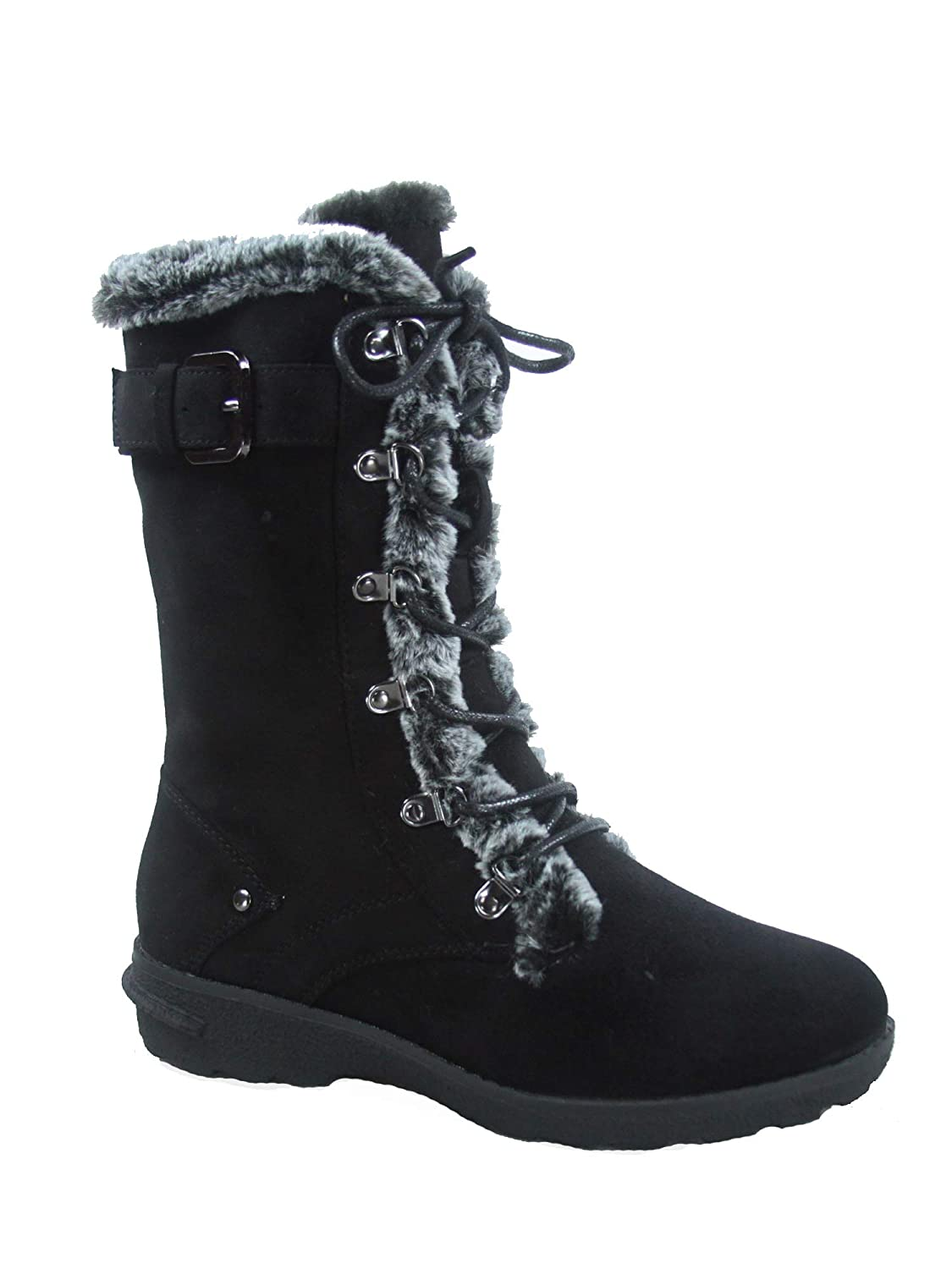 Black Forever Link FZ-Aura-10 Women's Fashion Round Toe Lace Up Zipper Mid-Calf Winter Snow Boots shoes