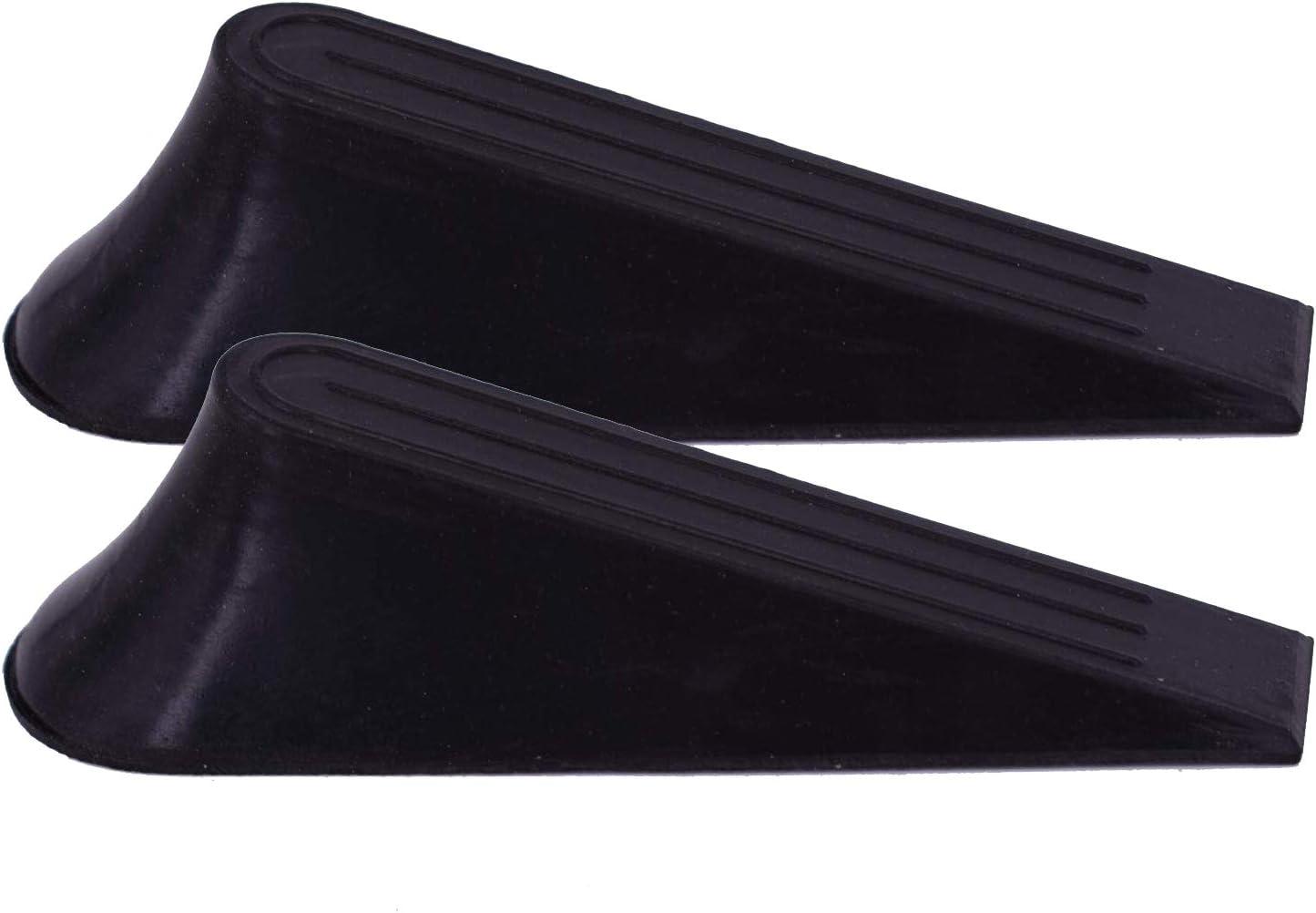 2 Pack Door Stops Black Multi Surface Anti Slippery Door Stop with Heavy Duty Design Flexible and Wedge Non Scratching Door Holder