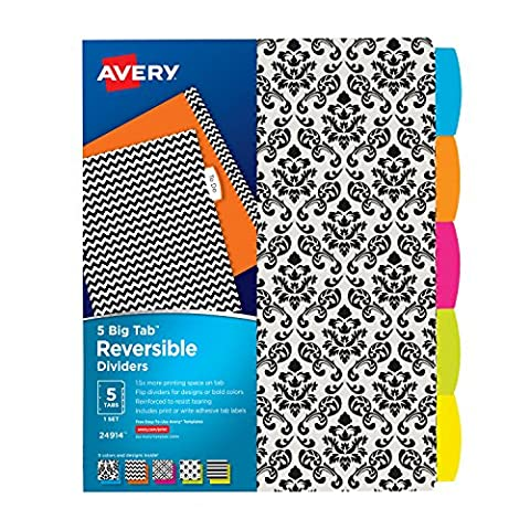 Avery Big Tab Reversible Fashion Dividers, 5 Tabs, 1 Set, Assorted Designs (24914) (Binders 3 Ring Fashion)