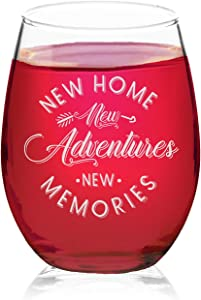 Veracco New Home New Adventure New Memories Stemless Wine Glass Funny BirthdayGift For Someone Who Loves Drinking Bachelor Party Favors (Clear, Glass)