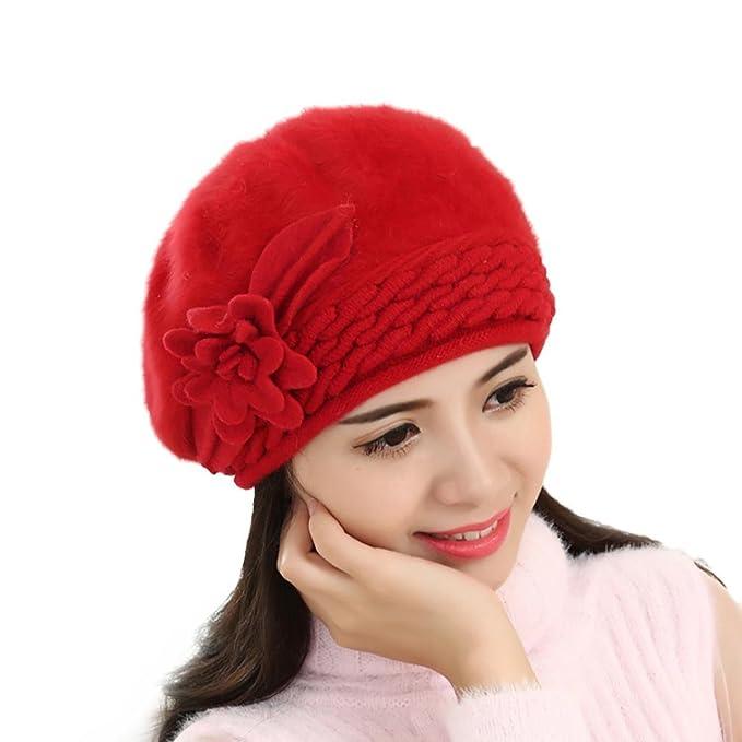 3c6f172aa00282 Amlaiworld Strickmützen, Damen Baggy Winter Warm Soft Stricken häkeln Hut  (Rot)