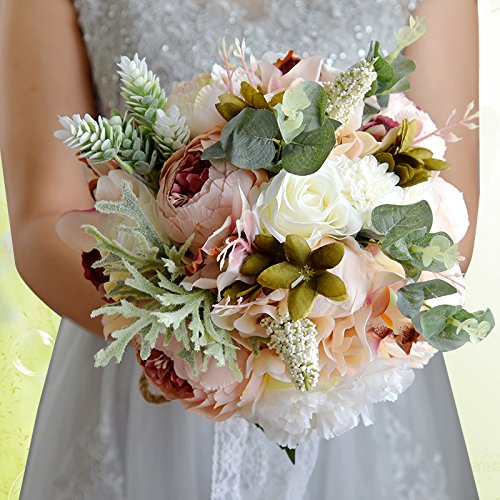 Abbie Home Wedding Bouquet - Artificial Roses Peony Lily Real Touch Bridal Holding Flowers (Bouquet Peony Rose)