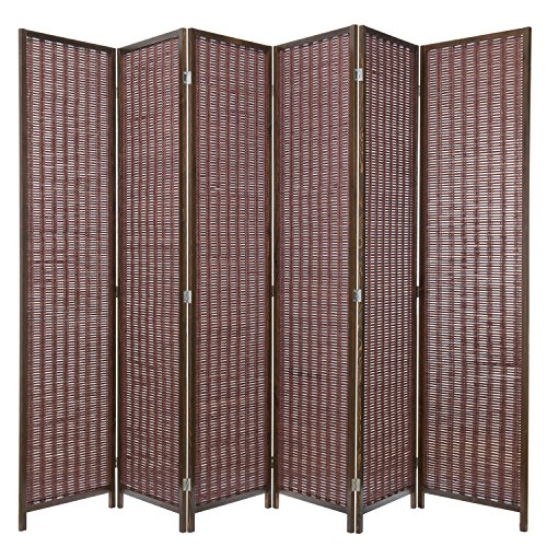 Woven Screen - MyGift Decorative Woven Bamboo 6-Panel Room Divider Screen, Brown