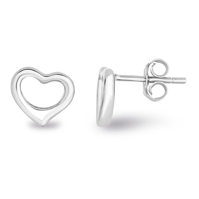 Rhodium Plated Sterling Silver Plain Hollow Heart Stud Earrings