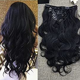 Full Shine 8 Inch Kinky Straight Clip Ins Natural Black Human Hair Extensions Remy Brazilian Extensions For Black Women Double Weft 7 Pieces 100g Per Set