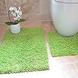 Lime Green Bathroom Mat 100% Cotton Twist Heavy 2 Piece Bath Rug Mat Set Soft Bathroom Toilet - Lime Green