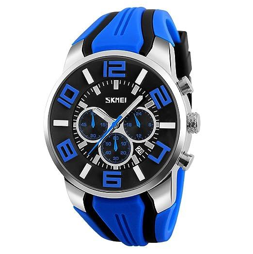 cae19419414d Moda Deporte Correa de Silicona Tres Pequeños Diales Reloj de Cuarzo Para  Hombre