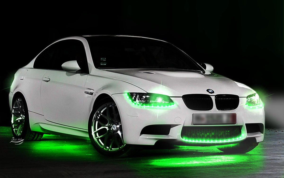 Zento Deals 30cm Green LED Car Flexible Waterproof Light Strip Pack of 4 SR6