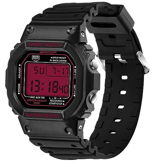 Pantalla LED de luz de fondo digital Cronómetro Reloj deportivo jóvenes Casual par relojes niños negro