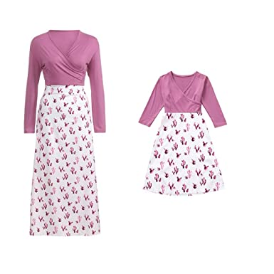 0f6ef39e52647 Amazon.com: SJIAO Fall Dress for Mom and Daughter Matching, Family ...