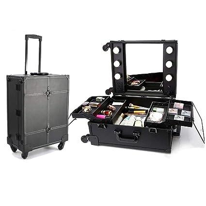 6bacb6f17 LUVODI Maleta Maquillaje Profesional con ruedas Maletín para maquillaje de  gran capacidad Estuche de Cosméticos con