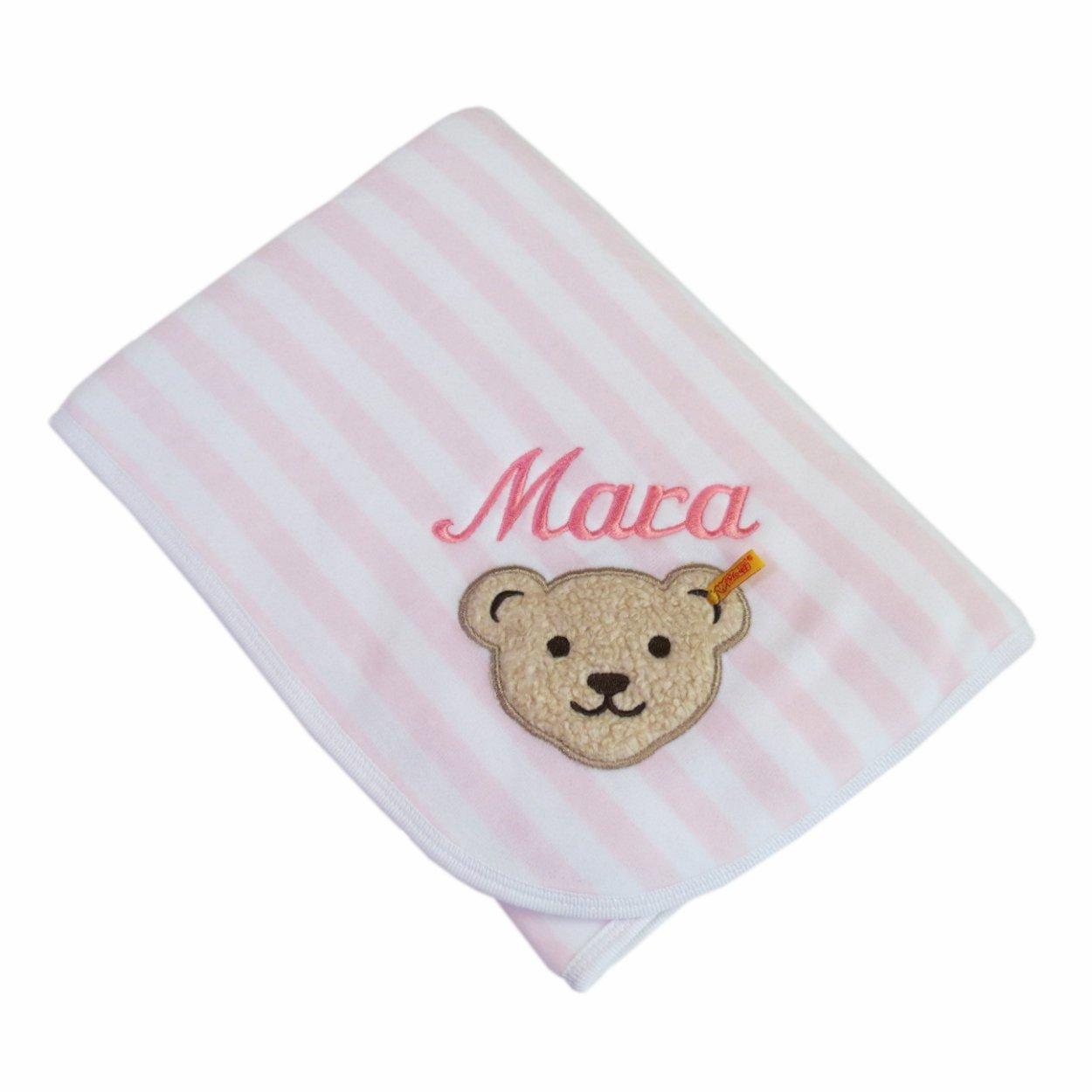 Babydecke mit Ihrem Wunsch Namen bestickt Steiff Collection 2890 rosa/weiß 90 cm x 60 cm Nicki CSB Computer-Stickerei BO Teddys
