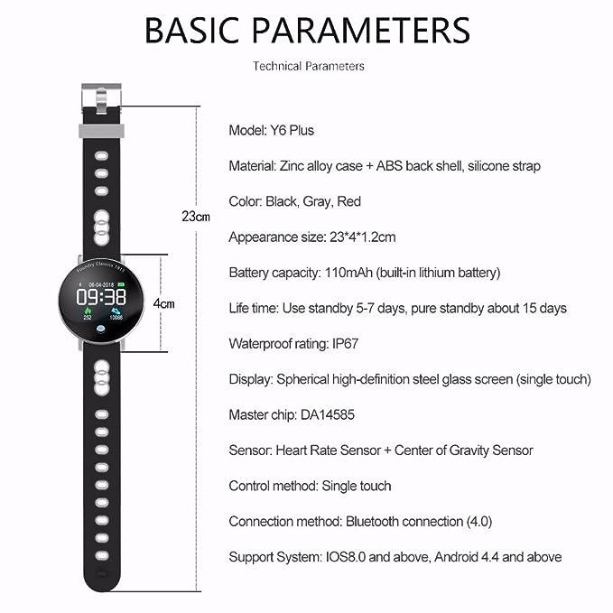 JSGJSH Pulsera Inteligente Y6 Plus Smartwatch Presión Arterial del Ritmo cardíaco Cronómetro Sport Mode Smart Watch Hombres Mujeres Round Big Display ...