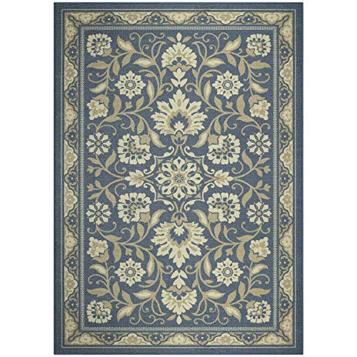 Maples Rugs Area Rugs - Florence 7 x 10 Non Slip Large Area Rugs [Made in USA] for Living Room, Bedroom, and Dining Room, Blue