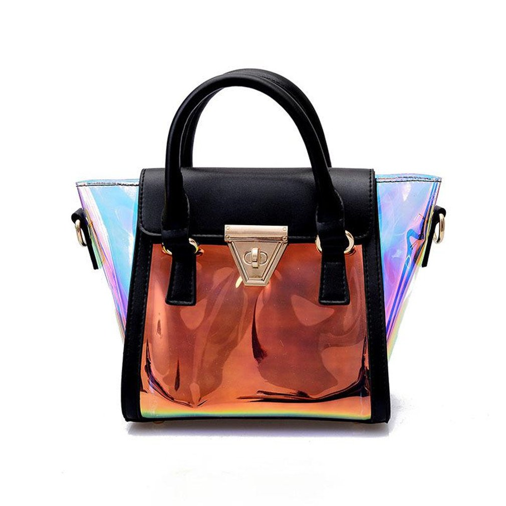 766c260ec7c0 Amazon.com  Cataal Beach Transparent Hologram Messenger Bag Women Jelly  Candy Shoulder Bag Black  Sports   Outdoors