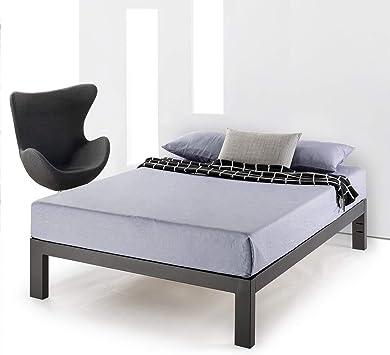 Mellow Metal Platform Bed Frame w//Heavy Duty Steel Slat Foundation Black