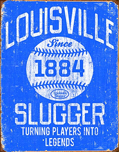 Desperate Enterprises Louisville Slugger Blue Tin Sign, 12.5