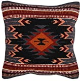 El Paso Designs Throw Pillow Covers 18 X 18- Hand Woven Wool in Southwest, Mexican, and Native American Styles- Hand Crafted Western Decorative Pillow Cases in Wool. (Black Flower)